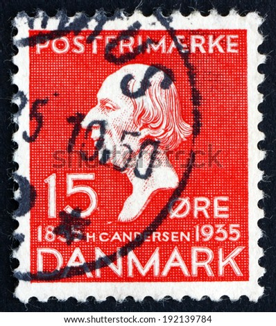 DENMARK - CIRCA 1935: a stamp printed in the Denmark shows Hans Christian Andersen, Writer, Centenary of the Earliest Installment of Hans Christian Andersen'??s Fairy Tales, circa 1935 - stock photo