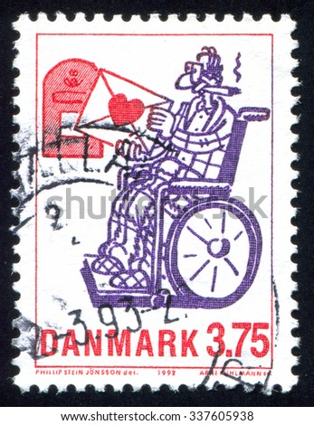 DENMARK - CIRCA 1992: stamp printed by Denmark, shows Cartoon characters Love Letter, by Phillip Stein Jonsson, circa 1992 - stock photo