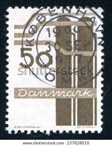 DENMARK - CIRCA 1968: stamp printed by Denmark, shows Chemical industry, circa 1968 - stock photo