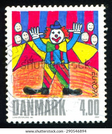 DENMARK - CIRCA 2002: stamp printed by Denmark, shows Clown by Luna Ostergard, circa 2002 - stock photo
