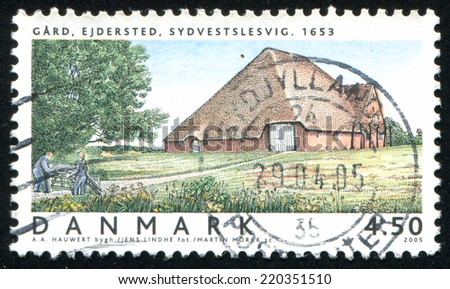 DENMARK - CIRCA 2005: stamp printed by Denmark, shows Ejdersted Farm, Southwest, Schleswig, circa 2005