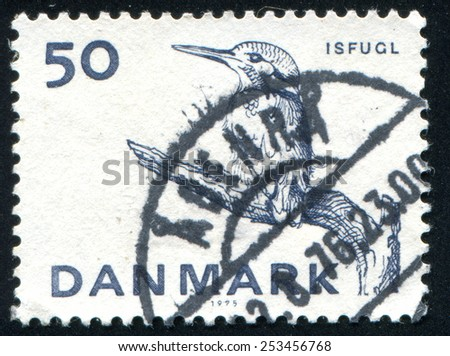 DENMARK - CIRCA 1975: stamp printed by Denmark, shows European Kingfisher, circa 1975