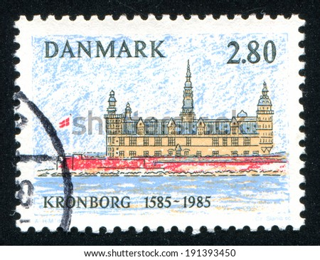 DENMARK - CIRCA 1985: stamp printed by Denmark, shows Kronborg Castle, Elsinore, circa 1985