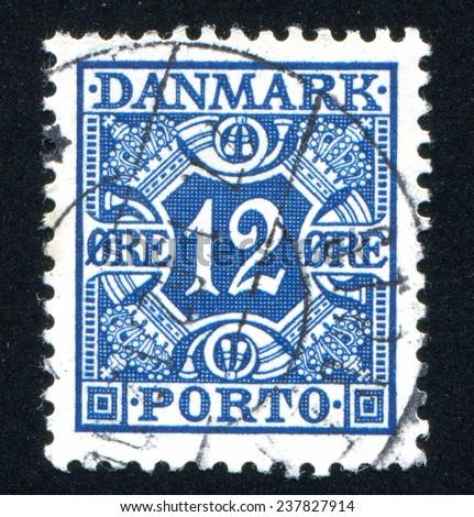 DENMARK - CIRCA 1921: stamp printed by Denmark, shows Royal Emblems, circa 1921 - stock photo