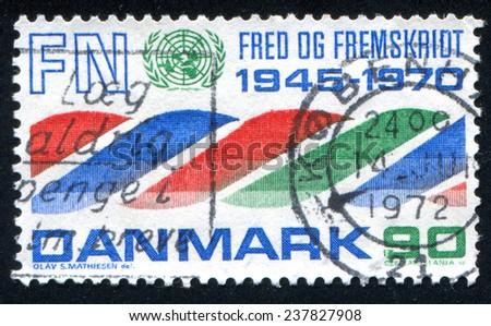 DENMARK - CIRCA 1970: stamp printed by Denmark, shows UN Emblem, circa 1970 - stock photo