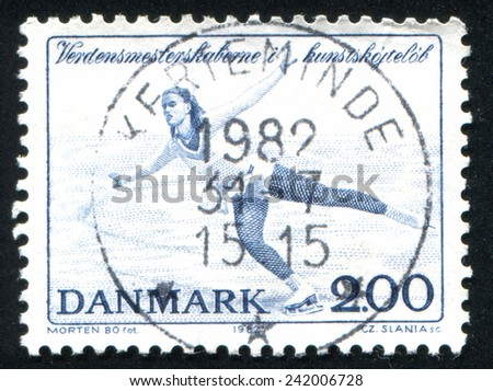 DENMARK - CIRCA 1982: stamp printed by Denmark, shows World Figure Skating Championships, circa 1982 - stock photo