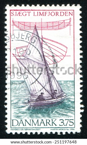 DENMARK - CIRCA 1996: stamp printed by Denmark, shows yachting, circa 1996 - stock photo