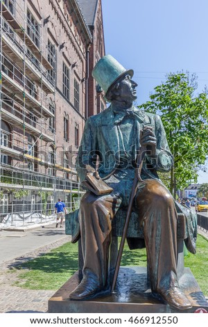 DENMARK, COPENHAGEN - May 12, 2016: Sculpture of Hans Christian Andersen in Copenhagen, Denmark. Andersen is best remembered for his fairy tales which have been translated into 125 languages.