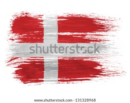 Denmark. Danish flag  on white background - stock photo