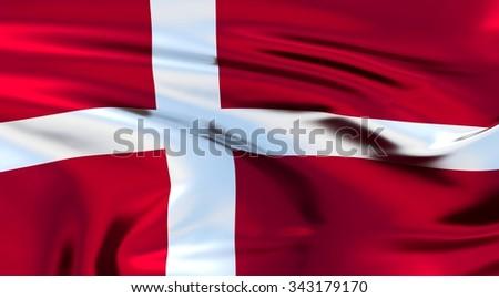 Denmark Flag. 3d illustration - stock photo