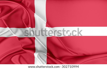 Denmark Flag. Flag with a beautiful glossy silk texture. - stock photo