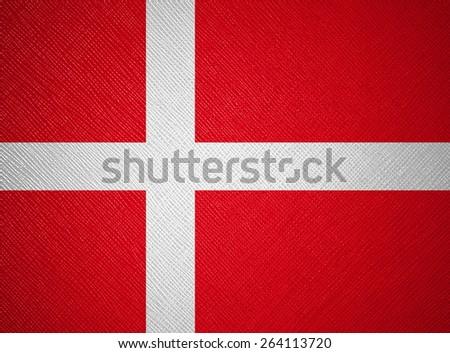 Denmark flag leather texture - stock photo