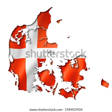 Denmark flag map, three dimensional render, isolated on white - stock photo