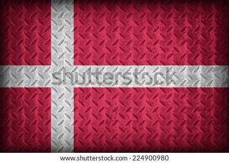 Denmark flag pattern on the diamond metal plate texture ,vintage style - stock photo