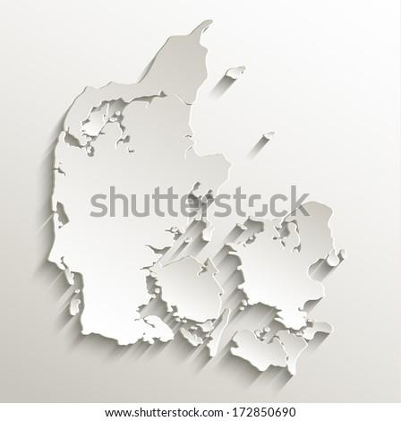 Denmark map card paper 3D natural raster blank - stock photo