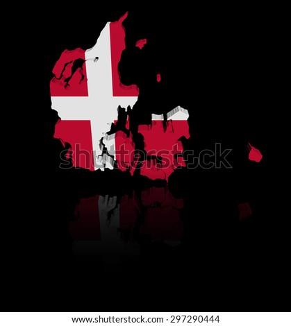 Denmark map flag with reflection illustration - stock photo