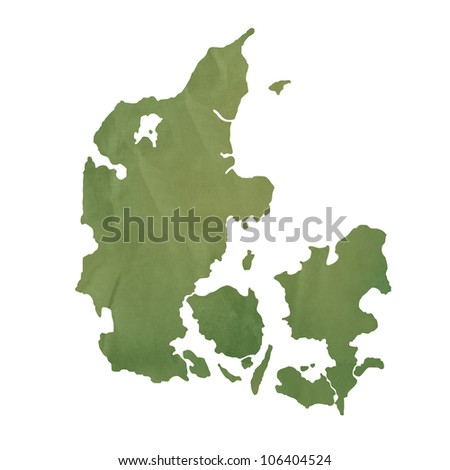 Denmark map in old green paper isolated on white background. - stock photo