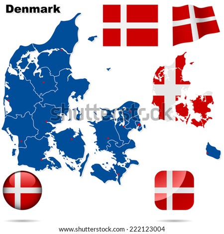 Denmark set. Detailed country shape with region borders, flags and icons isolated on white background. - stock photo