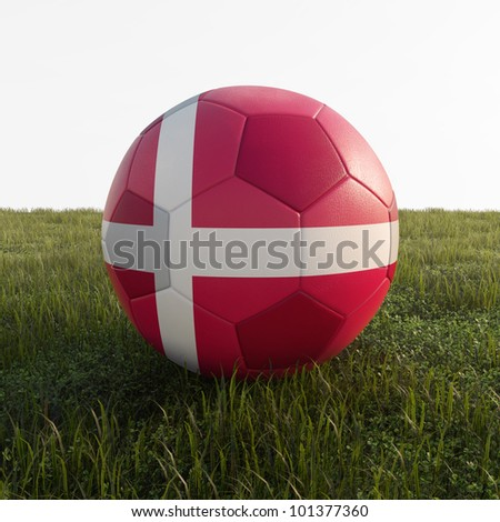 denmark soccer ball isolated on grass - stock photo