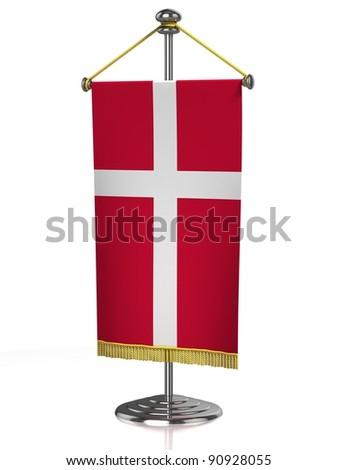 Denmark table flag isolated on white - stock photo