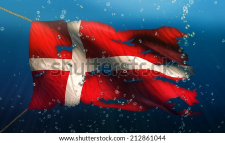 Denmark Under Water Sea Flag National Torn Bubble 3D - stock photo
