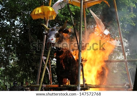 DENPASAR, INDONESIA - MAY 12:  A white bull used as a sarcophagus engulfed in flames during a Balinese Ngaben or cremation ceremony in Ubud, Denpasar, Bali, Indonesia on May 12, 2013. - stock photo