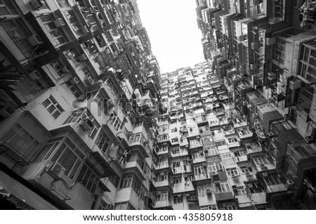 Dense residential building in Hong Kong, Monochrome photo,   - stock photo