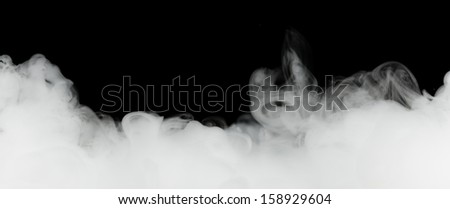 dense smoke isolated on black - stock photo