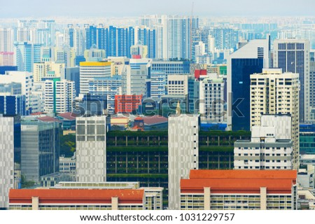 Density crowded city architecture of living districts of Singapore