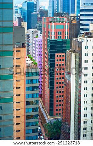 Density urban living in Hong Kong - stock photo