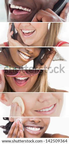 Dental care collage of people smiling on white background - stock photo