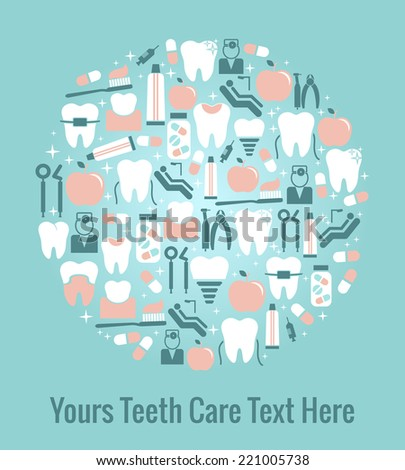 Dental Care Graphics Arranged in Circular Pattern on Blue with Copyspace for Text - stock photo