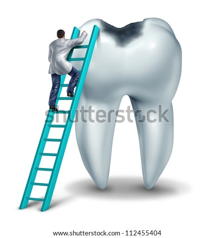 Dental care health and medical symbol with a dentist or doctor in uniform on a ladder to diagnose  symptoms and perform an emergency  surgery on a tooth with a cavity on a white background. - stock photo