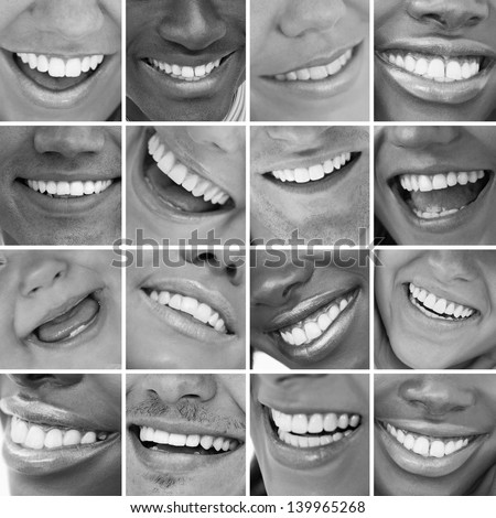 Dental care montage in black and white - stock photo