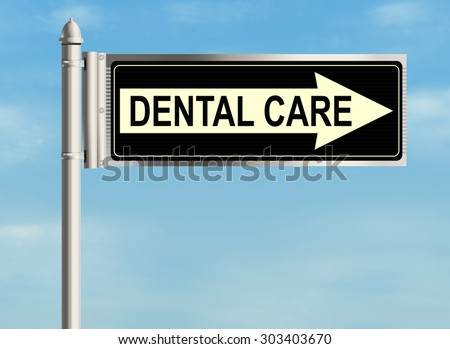Dental care. Road sign on the sky background. Raster illustration.