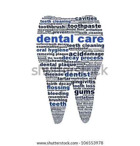 Dental care symbol as a tooth isolated on white background. Oral hygiene conceptual design - stock photo
