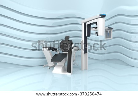 Dental chair and dental 3D CT on light blue background. - stock photo