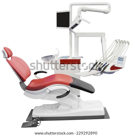 Dental Chair Isolated with Clipping Path - stock photo