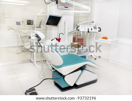dental clinic interior design several working stock photo image