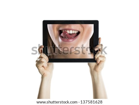 Dental closeup with tablet screen, isolated on white
