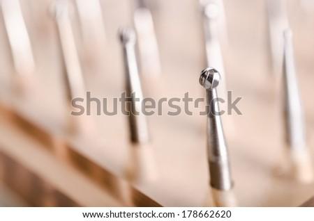Dental drills kit. Macro - stock photo
