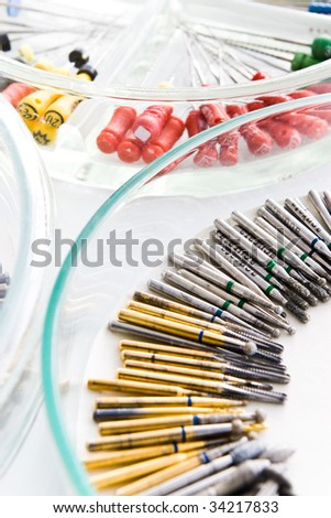 dental drills on glass plate