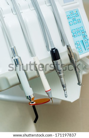Dental Equipment. Bright colors. Close-up