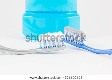 Dental health care objects on white background, selective focus. - stock photo