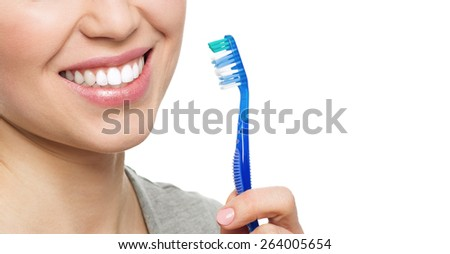 Dental health. Close-up of perfect white smile isolated on white background.  - stock photo