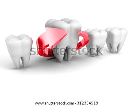 Dental Health Concept. Red Arrow Around Tooth. 3d Render Illustration - stock photo