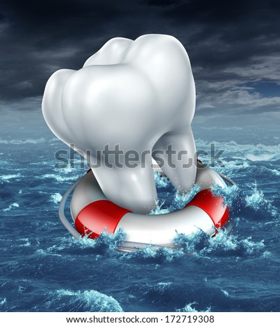 Dental help protection as a medical dentistry concept with a white molar tooth saved by a lifesaver or lifebelt as a metaphor for fighting against tooth decay and cavities on an ocean storm scene. - stock photo