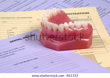 Dental History Forms and Model of Teeth