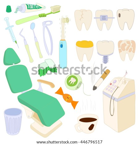 Dental icons set in cartoon style isolated on white background