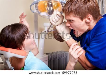 dental phobia - stock photo